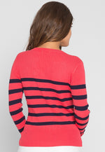 Boat V-Neck Rib Knit Stripe Sweater in Coral
