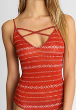 Boho Printed Bodysuit in Red