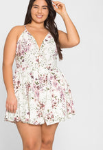 Plus Size Robin Floral Romper in White