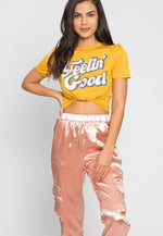 High Class Satin Cargo Pants in Pink