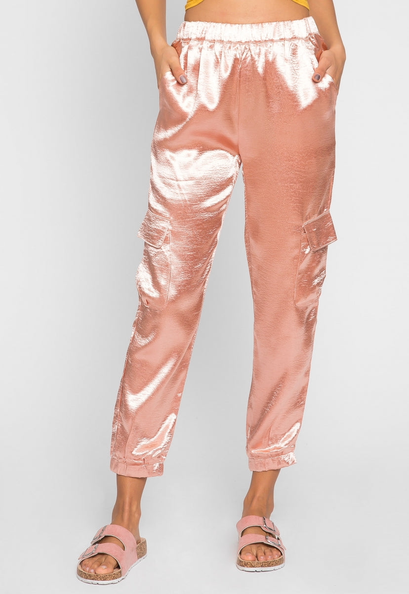 High Class Satin Cargo Pants in Pink - Pants - Wetseal