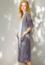 Heathered Longline Cardigan in Navy