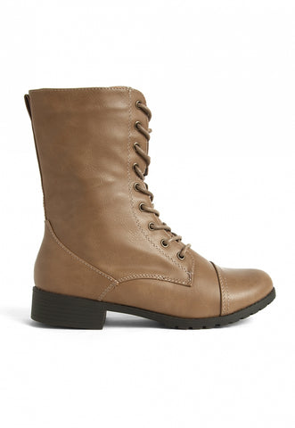Beatriz Combat Boots in Taupe