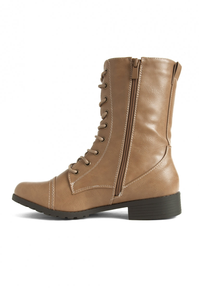 Beatriz Combat Boots in Taupe - Shoes - Wetseal