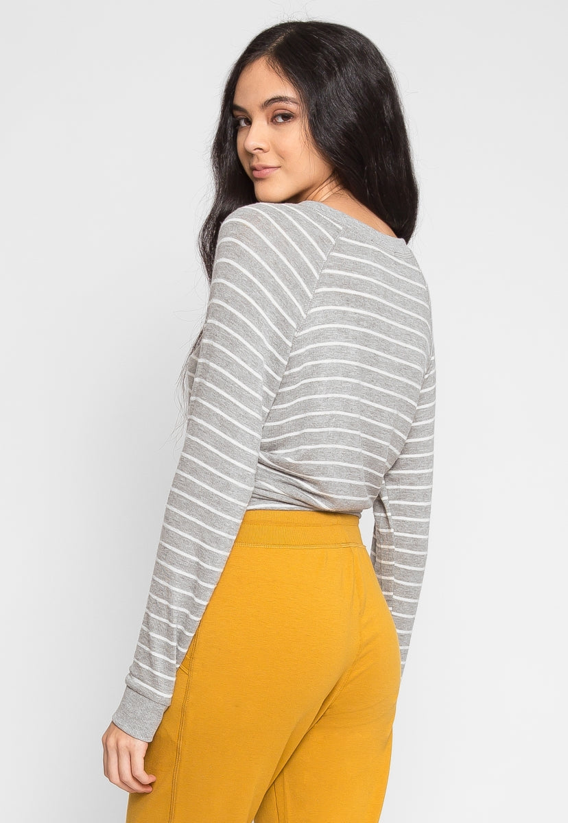 Token Longline Stripe Top in Gray - Shirts & Blouses - Wetseal