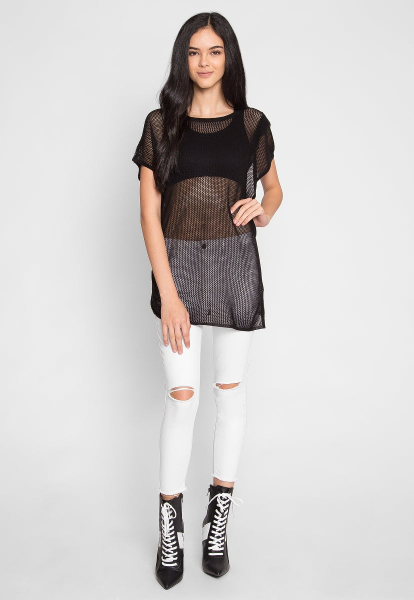 Tricot Knit Top in Black - Shirts & Blouses - Wetseal