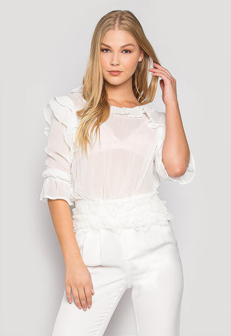 Showtime Sheer Ruffle Blouse in White