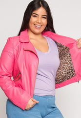 Plus Size Moto Faux Leather Jacket by Wet Seal