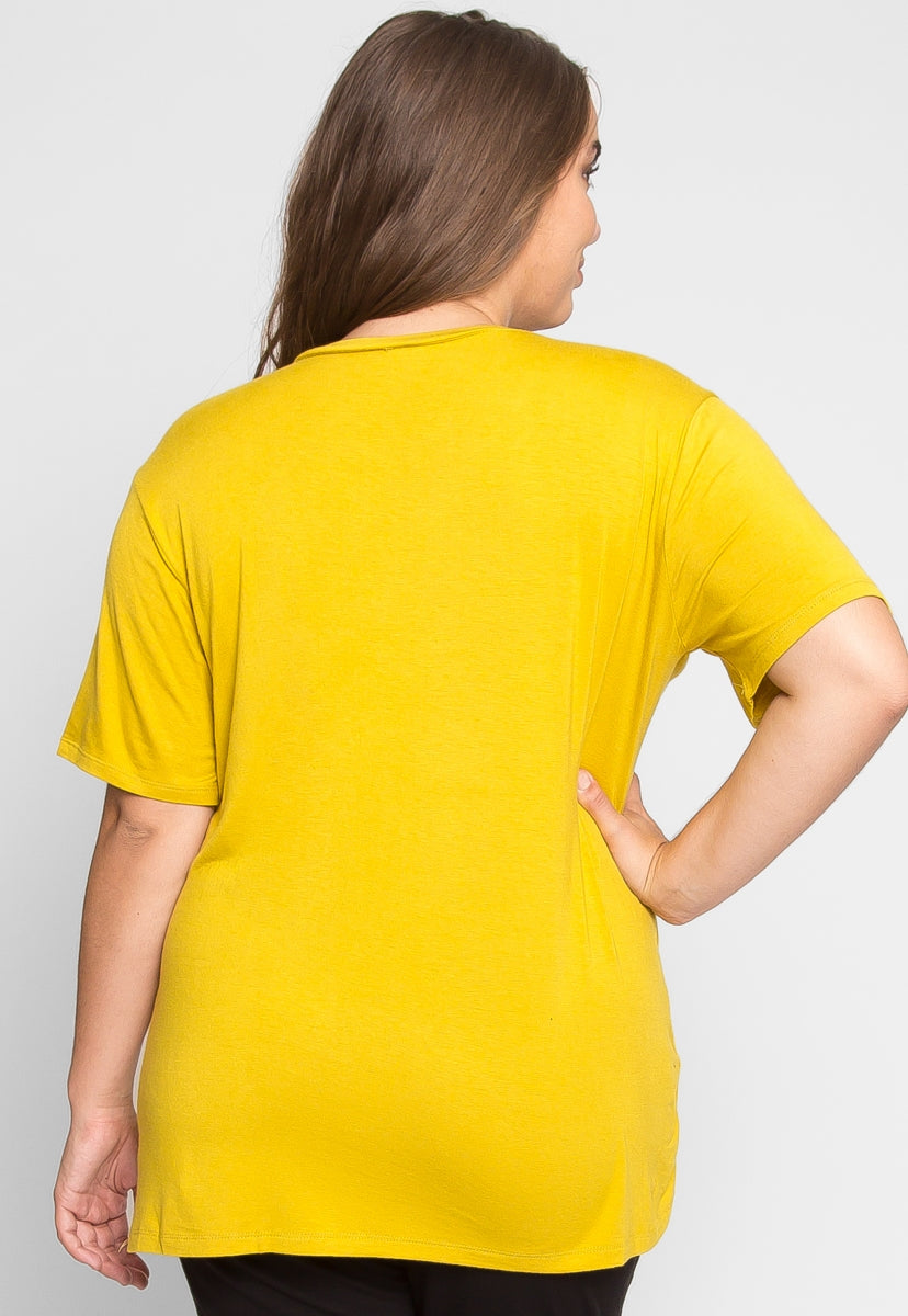 Plus Size Greatest Boxy Tee in Chartreuse - Plus Tops - Wetseal