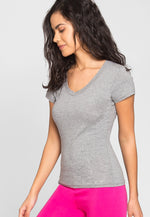 Olivia Fitted V-Neck Tee in Gray