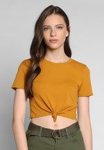 90s Girls Knot Front Crop Top in Mustard