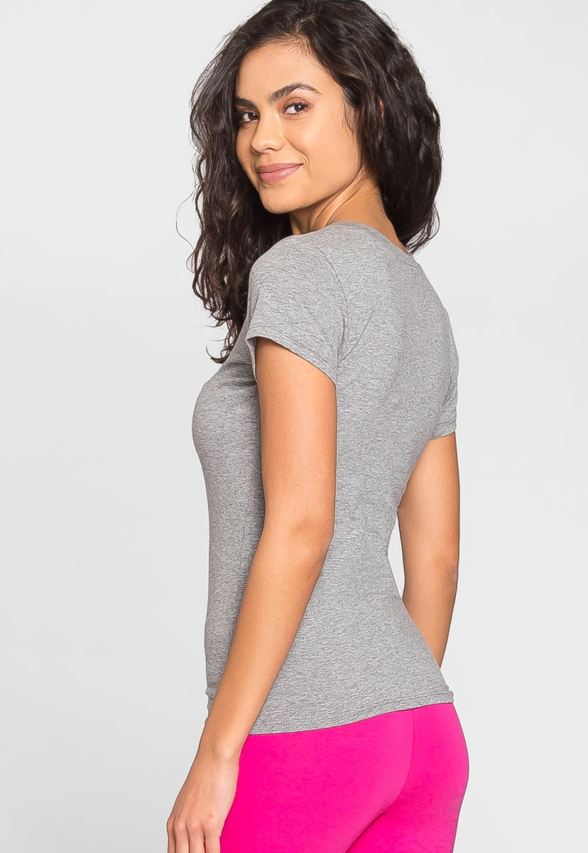 Olivia Fitted V-Neck Tee in Gray - T-shirts - Wetseal