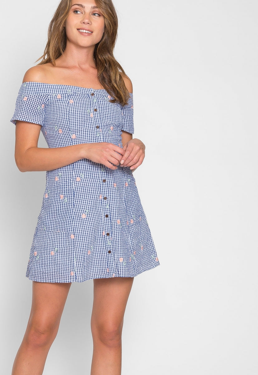 Simons Floral Gingham Dress in Blue - Dresses - Wetseal