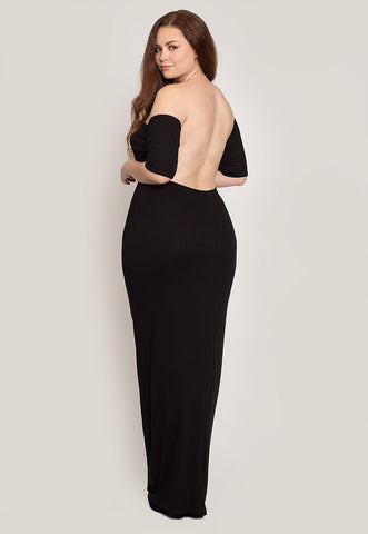 Plus Size Off Shoulder Maxi Dress in Black