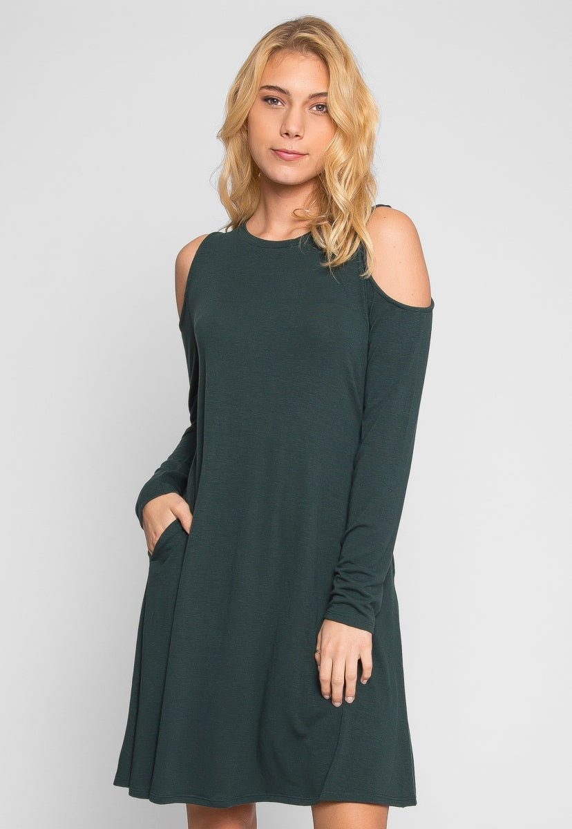 Anna Cold Shoulder Dress in Green - Dresses - Wetseal