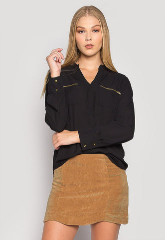 You & I Zip Pocket Blouse