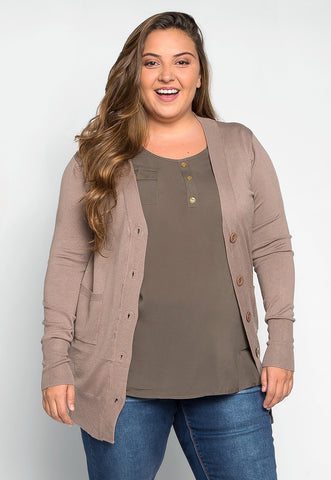 Plus Size Be Real Buttoned Cardigan in Beige