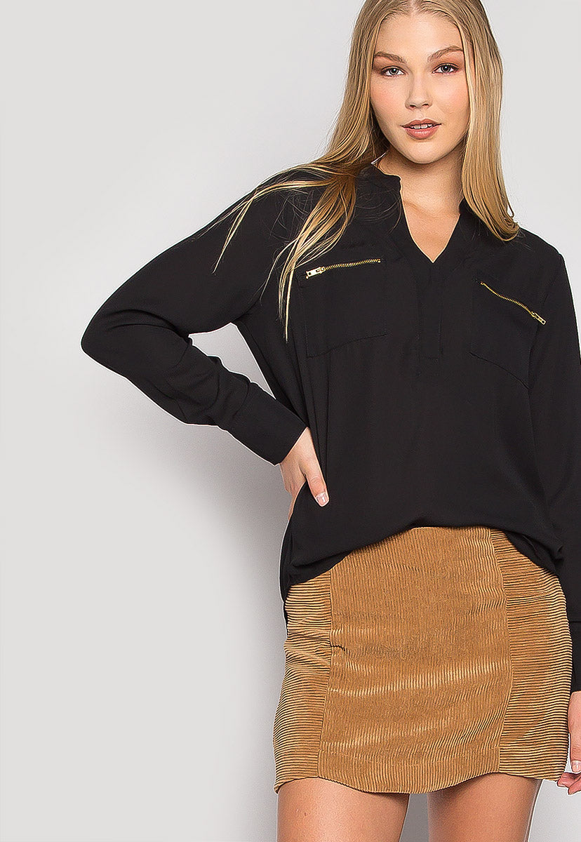 You & I Zip Pocket Blouse - Shirts & Blouses - Wetseal