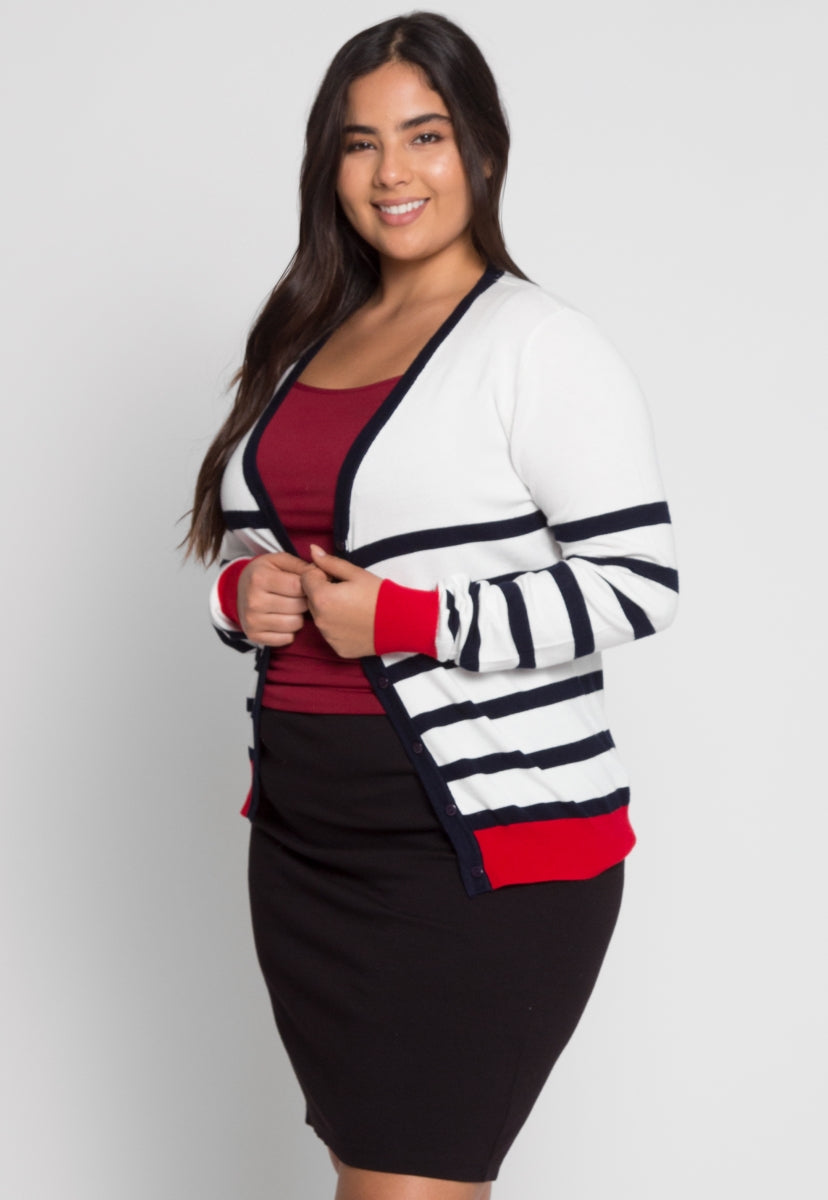 Plus Size Yacht Stripe Cardigan in White - Plus Outerwear - Wetseal