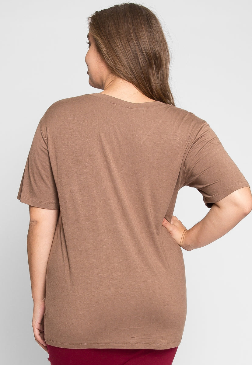 Plus Size Greatest Boxy Tee in Mocha - Plus Tops - Wetseal