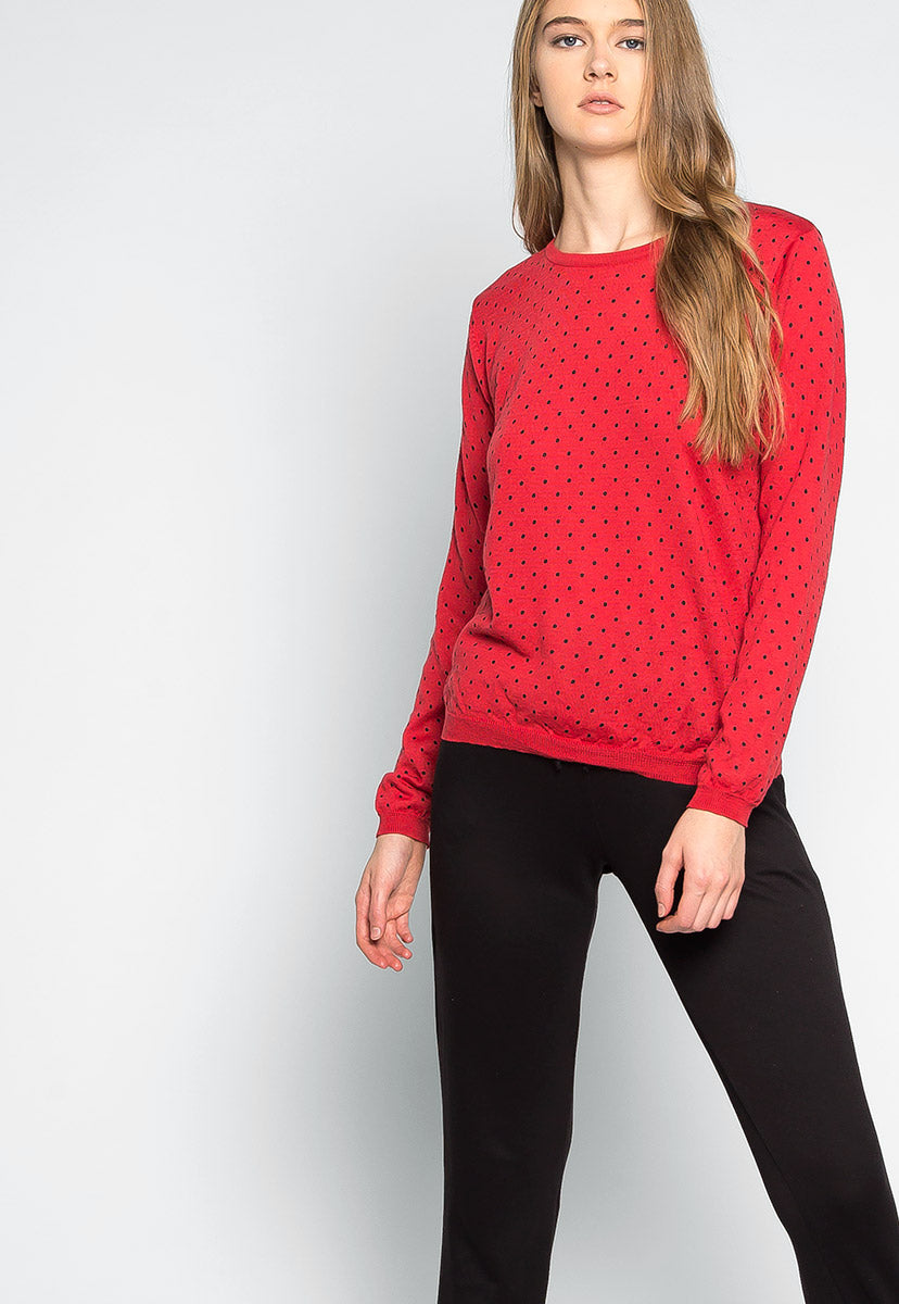 Watermelon Polka Dot Sweater in Red - Sweaters & Sweatshirts - Wetseal