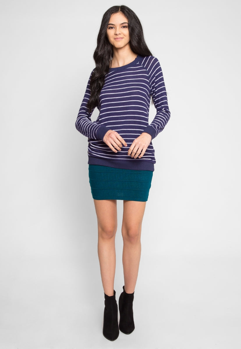 Token Longline Stripe Top in Navy - Shirts & Blouses - Wetseal