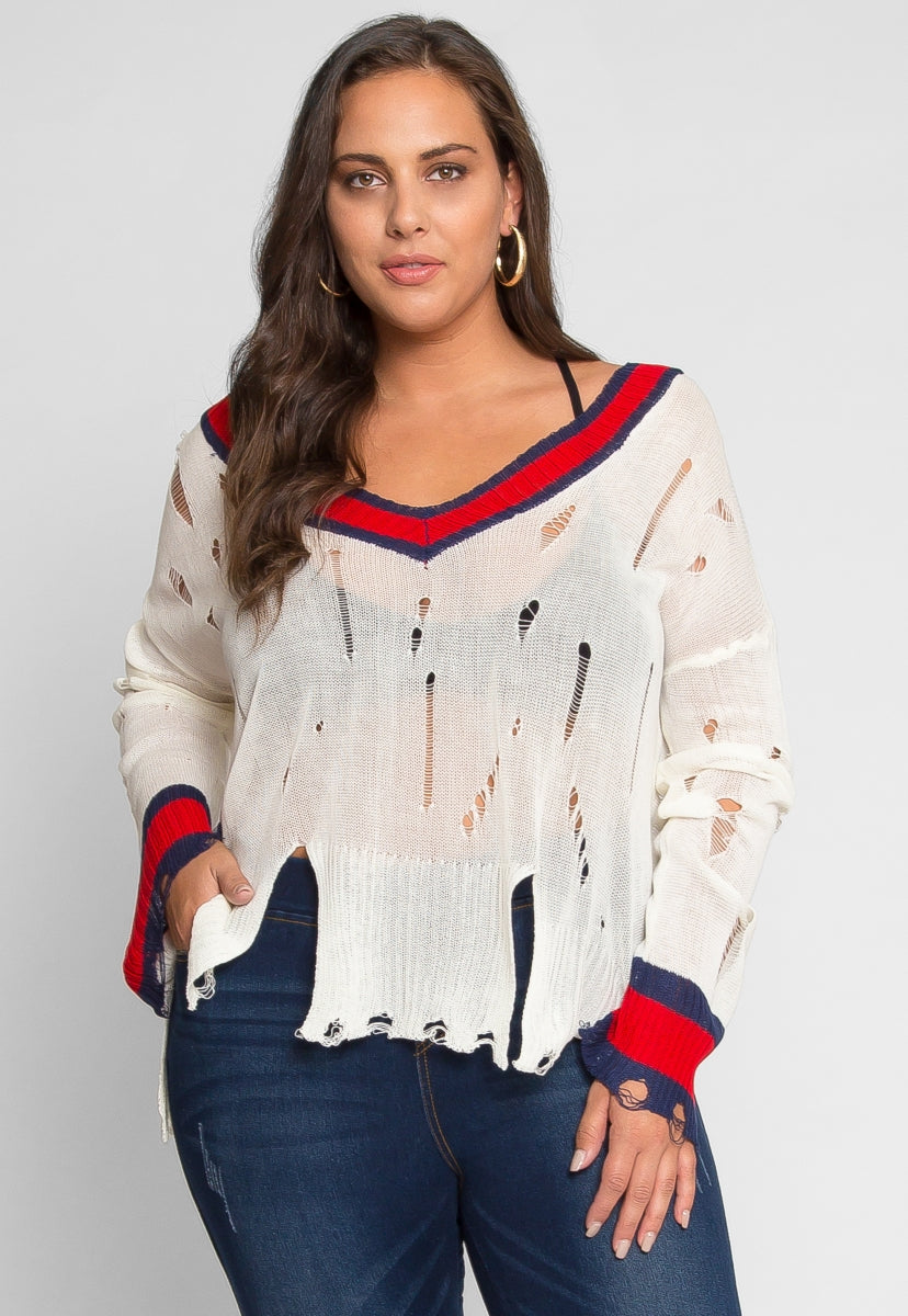 Plus Size Rebellious Distressed Sweater Wet Seal
