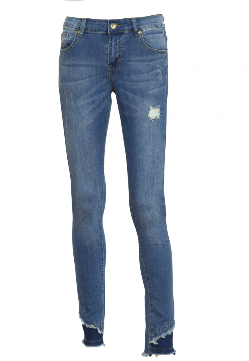 Medium Wash Raw Edge Skinny Jeans - Pants - Wetseal