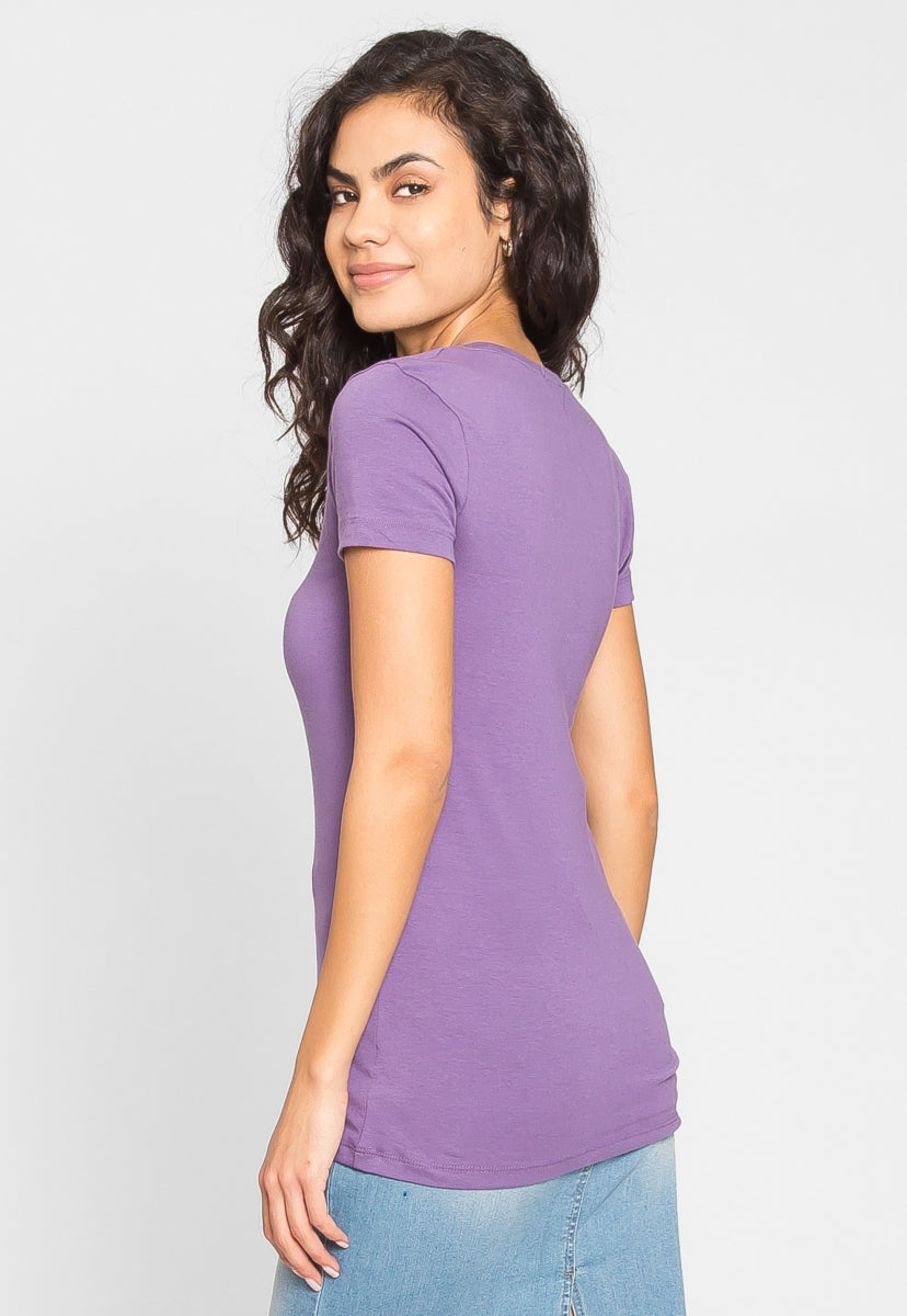 Essentials Scoop Neck Tee in Lilac - T-shirts - Wetseal