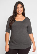 Plus Size Reflections Knit Top in Charcoal