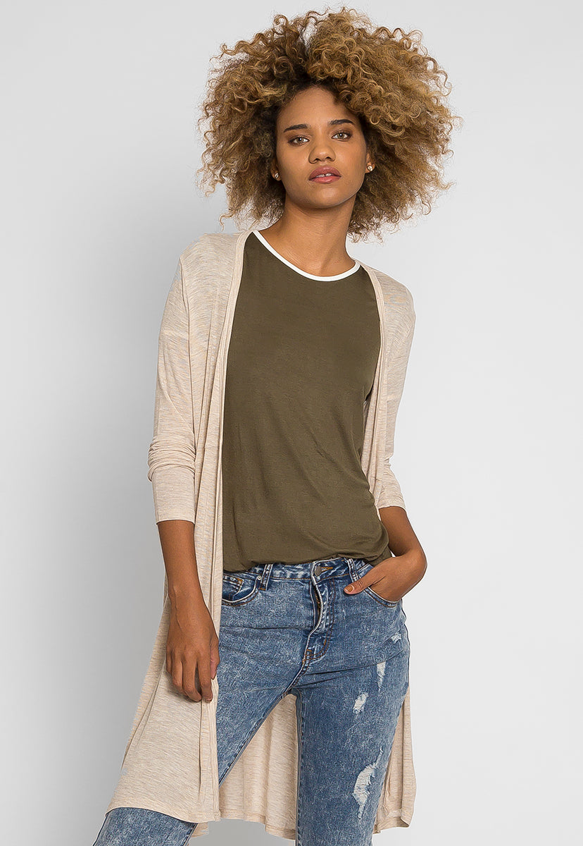 Orchid Fields Duster Cardigan in Oatmeal - Sweaters & Sweatshirts - Wetseal