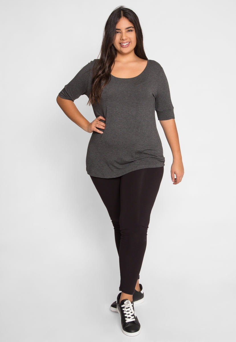 Plus Size Reflections Knit Top in Charcoal - Plus Tops - Wetseal