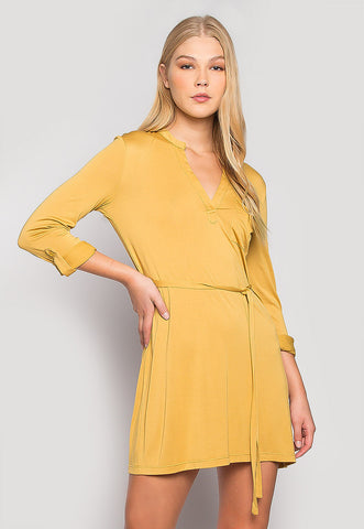 Fresh Start Front Pocket Belted Dress in Mustard