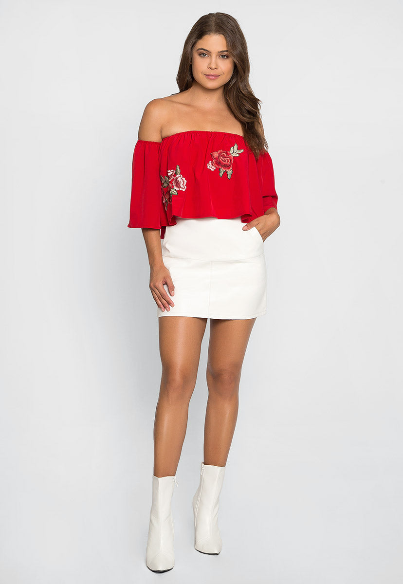 Free Soul Embroidered Top in Red - Crop Tops - Wetseal