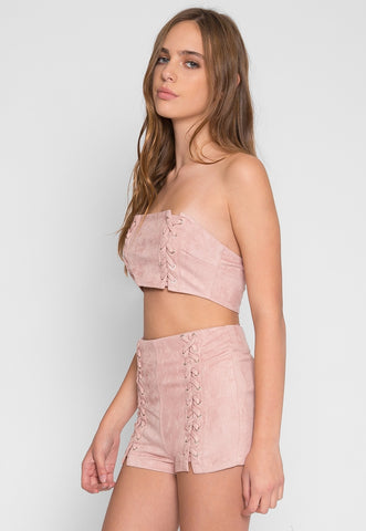 Faux Suede Lace Up Two Piece Set in Light pink