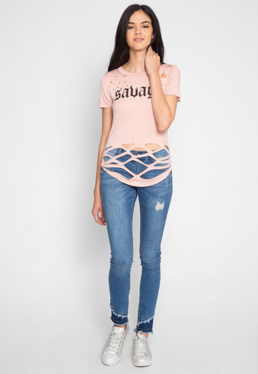 Savage Graphic Distressed Tee - Shirts & Blouses - Wetseal