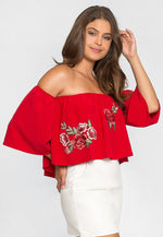 Free Soul Embroidered Top in Red