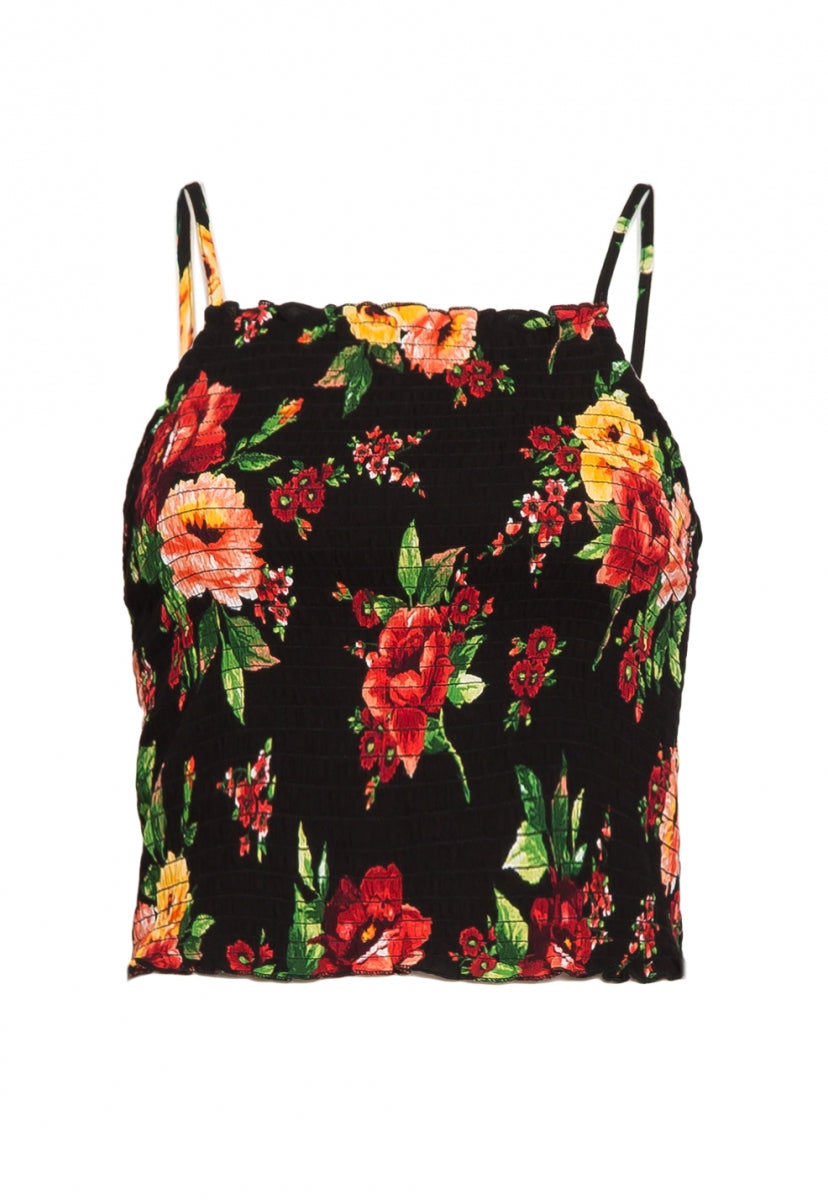 English Rose Smock Floral Top in Black - Shirts & Blouses - Wetseal