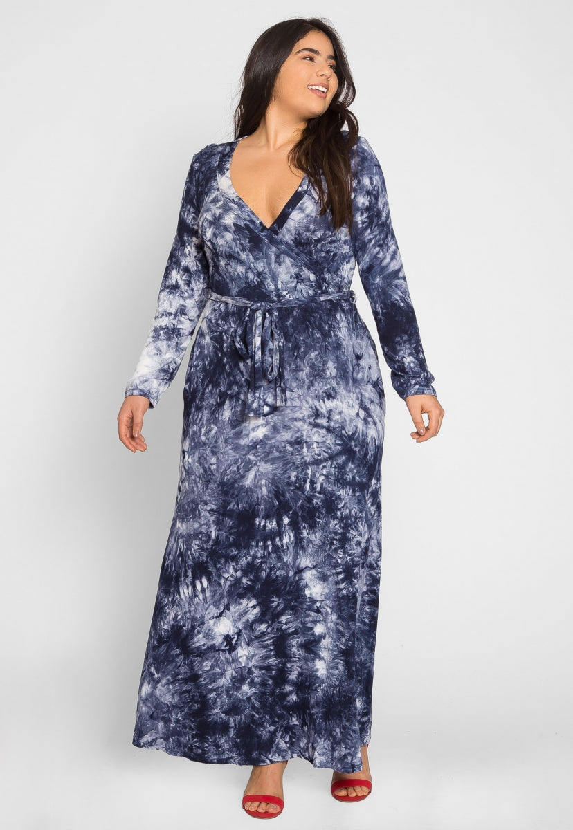 Plus Size Clouds Tie Dye Maxi Dress