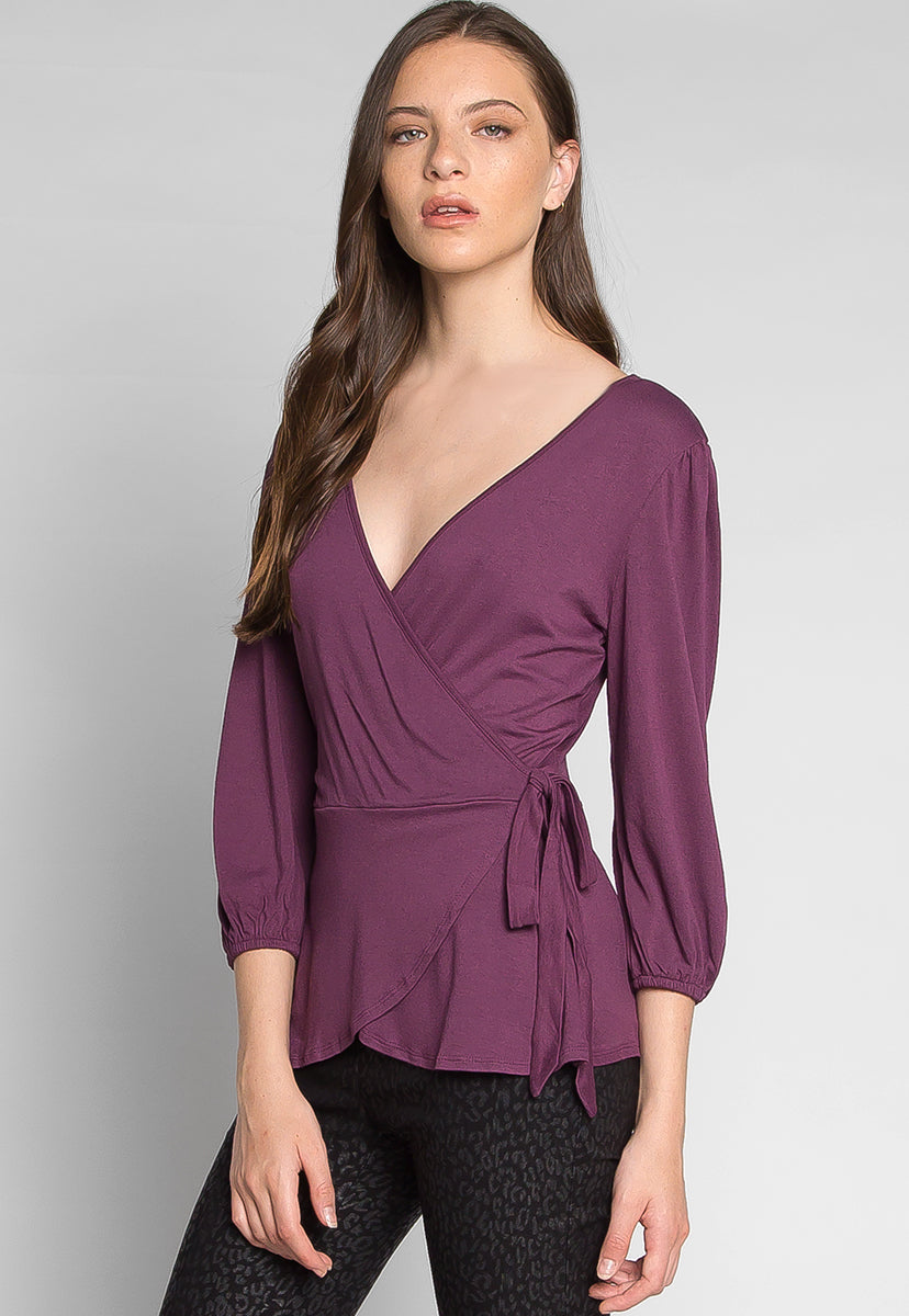Peony Self Tie Wrap Blouse in Purple - Shirts & Blouses - Wetseal