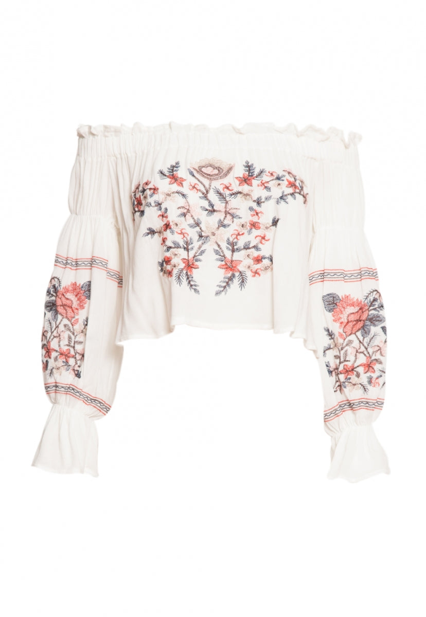 Embroidered Off Shoulder Top in White - Shirts & Blouses - Wetseal