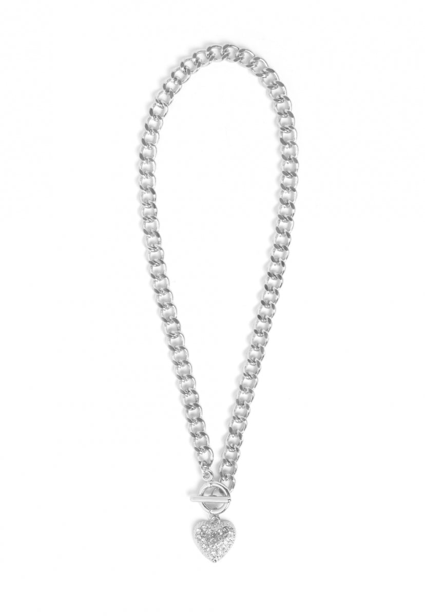 Sassy Heart Necklace in Silver - Jewelry - Wetseal
