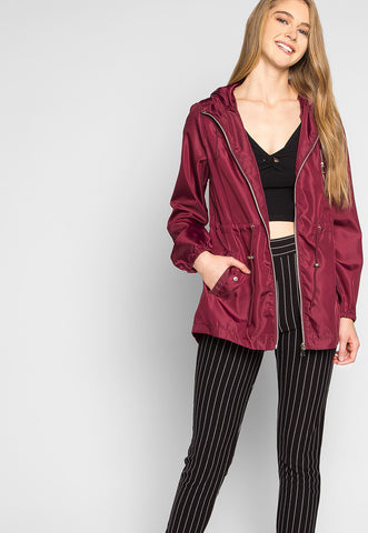 Rain Clouds Lightweight Anorak Jacket in Burgundy