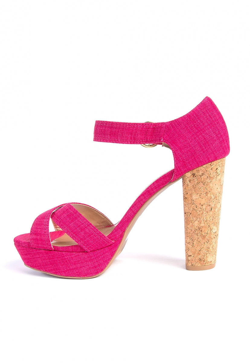 Popping Cork Heel Ankle Strap Heels - Shoes - Wetseal