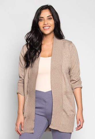 Plus Size Sunset Lover Open Front Cardigan in Beige