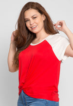 Plus Size Ball Park Raglan Crop Top in Red