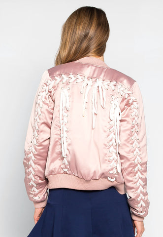 Light Rays Satin Bomber Jacket