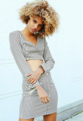Money Houndstooth Two Piece Set in Brown