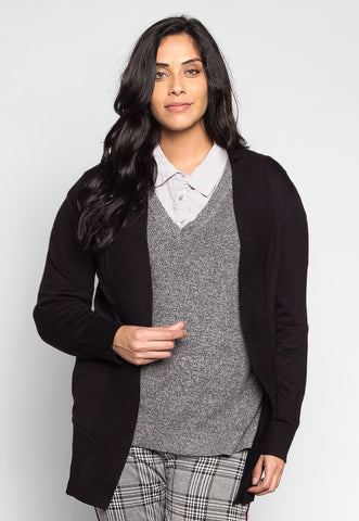 Plus Size Sunset Lover Open Front Cardigan in Black