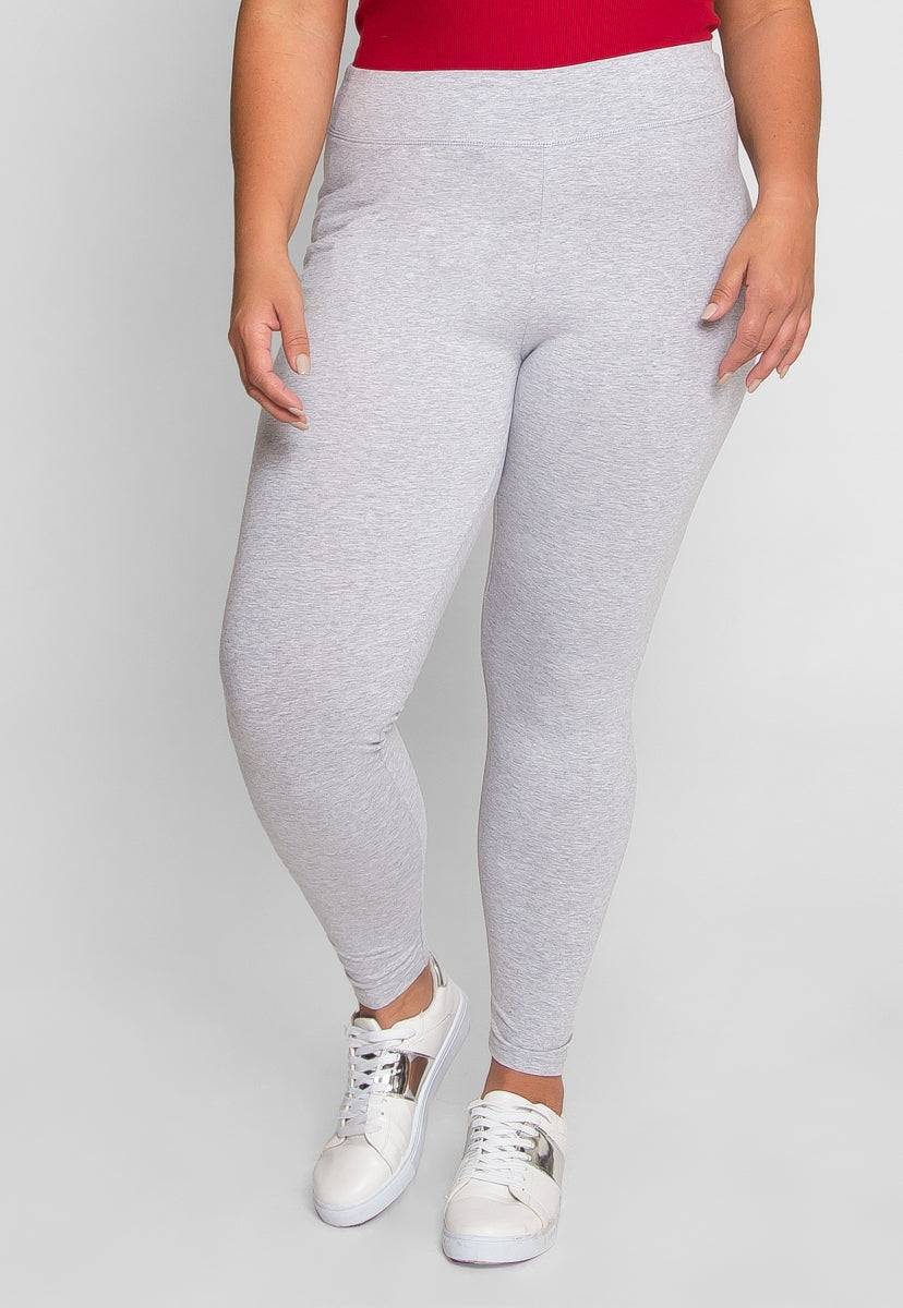 Plus Size Cotton Leggings in Gray - Plus Bottoms - Wetseal